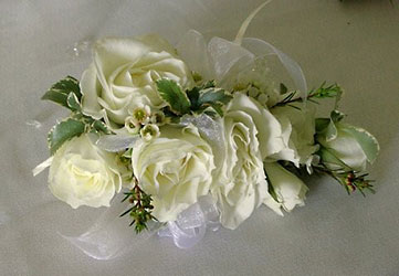 Striking In White Corsage from Inglis Florist in Tucson, AZ