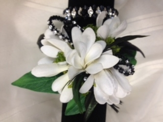 White and Black Wristlet<br>Inglis Florists from Inglis Florist in Tucson, AZ
