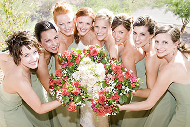 Bridal Party of 8 from Inglis Florist in Tucson, AZ