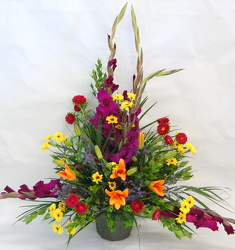 Inglis' Sympathy Arrangement with Gladiolas from Inglis Florist in Tucson, AZ