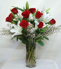 Roses and Stargazer Romance Bouquet<br>Inglis Florists