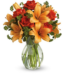 Fiery Lily and Rose<br>Teleflora from Inglis Florist in Tucson, AZ