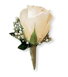 White Ice Rose Boutonniere from Inglis Florist in Tucson, AZ